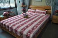 鲁锦老粗布家纺纯棉床上用品四件套红双喜