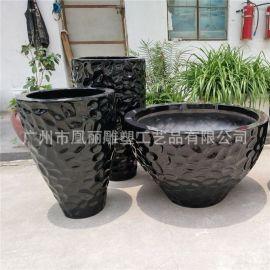 工厂直销玻璃钢花盆 圆形花钵组合 适用商场办公室园林花盆