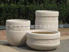 玻璃鋼仿石材花盆定制廠家 復古雕花花盆器組合 美陳