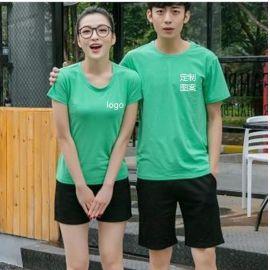 夏季奥代尔棉不起球圆领衫工作服男女童短袖运动t恤印字企业Logo
