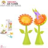 淘寶贈品批發RB233創意新品太陽花水果籤 小鳥水果叉 塑料水果叉套裝