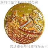 圆形镀金立体长城旅游纪念章