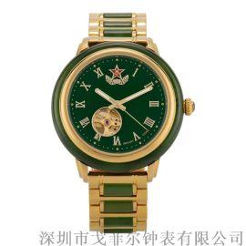 新疆和田玉碧玉男士手表镂空机械表不锈钢间玉表带防水