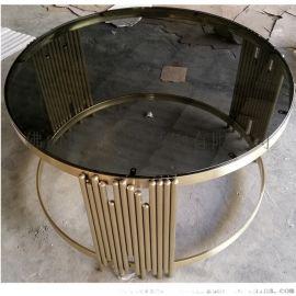 镀金不锈钢茶几加工厂家 客厅茶几角几定制