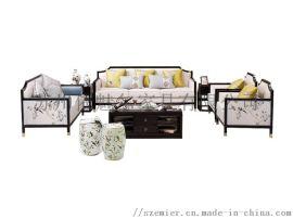 样板间客厅沙发 实木沙发 定制沙发组合沙发0006