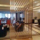 酒店屏風 玫瑰金不鏽鋼屏風隔斷 中式復古花格加工廠