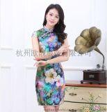 杭州廠家長期供應高檔大牌手工繡花改良時尚真絲旗袍