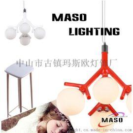 玛斯欧新款四头树枝枝条树脂创意简约餐台店铺灯具现代吊灯MS-P1040