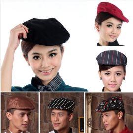 厨师工作帽男酒店厨房餐厅贝雷帽透气鸭舌帽服务员前进帽子女定制