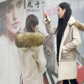 冬季羊羔毛皮毛一体麂皮绒外套女2017新款韩版中长款外套棉服