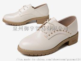 英伦女鞋平底小白鞋休闲鞋 泉州杭米HM-1155休闲鞋 牛皮休闲鞋