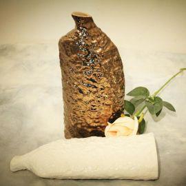 金色白色陶瓷花瓶摆件现代简约客厅干花插花花器创意茶几餐桌装饰品