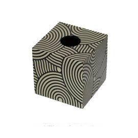黑色白色正方形纹理钢琴烤漆木质纸巾盒欧式创意客厅卧室酒店摆件