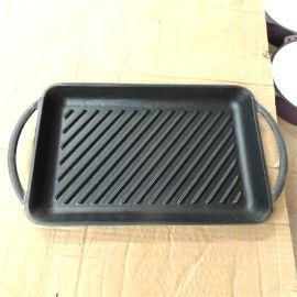 铸铁长方烤盘西餐厅铸铁烤盘 铸铁锅 铁板烧煎肉烤肉