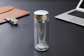 盐城加汇双层玻璃杯印字广告杯礼品杯商务口杯定制印LOGO玻璃杯厂家