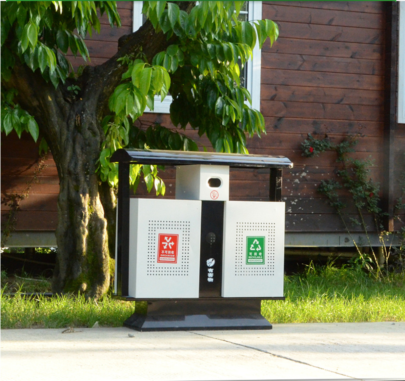 黄石市分类垃圾箱 镀锌板垃圾箱 果皮箱