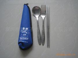 不锈钢勺叉筷 筷子 勺子 叉子 米奇餐具 便携餐具三件套