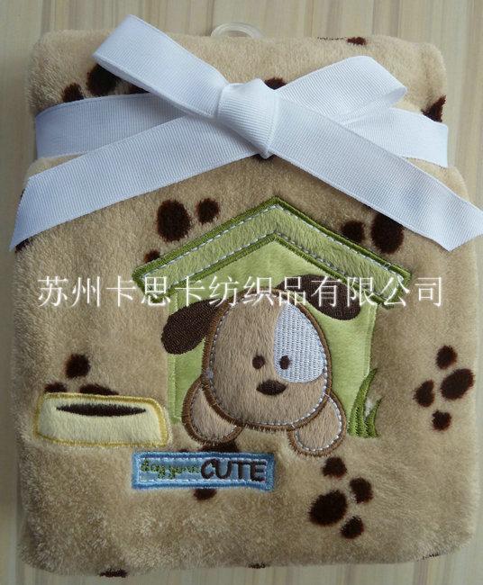珊瑚绒绣花童毯 **绣花毛毯 外贸毛毯