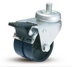 双菱脚轮2吋导螺万向双刹双联尼龙/塑料轮