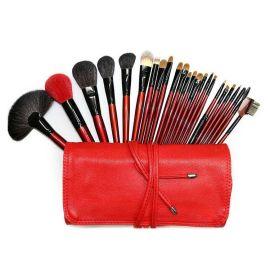 红色专业24支化妆套刷+PU化妆包深圳OEM化妆刷工厂
