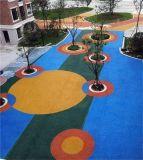 陝西延安市彩色透水混凝土透水地坪天然露骨料路面材料