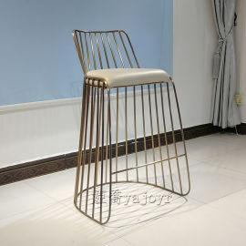 电镀不锈钢土豪金吧椅奶茶店咖啡店网红店高脚吧椅