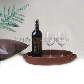 复古咖啡色皮革圆形托盘家用水杯茶托盘果盘桌面收纳盒 爱洛斯家居饰品