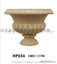 西安石雕厂供应砂岩花盆石材花盆 玻璃钢花钵
