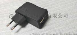 5V2.1A双口欧规旅充USB手机充电器