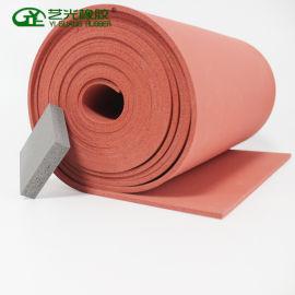 硅胶发泡板 红色卷材硅胶厂家  现货可定制