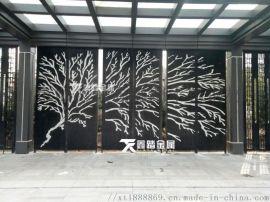 售楼部景观艺术造型背景墙 现代中式走廊不锈钢格栅