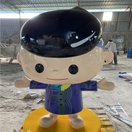 广州品牌店面迎宾卡通雕塑 玻璃钢卡通人物雕塑摆件