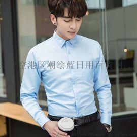 男士韩版潮流修身免烫商务休闲长袖衬衫
