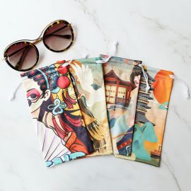源头产地超细纤维眼镜袋,印花束口手机袋,眼镜收纳袋