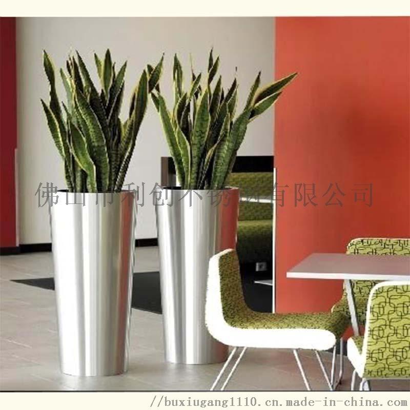 鍍色不鏽鋼大花盆 拉絲不鏽鋼花盆 鏡面不鏽鋼花盆