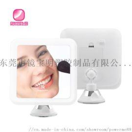 方形10倍放大浴室鏡  LED燈吸盤鏡