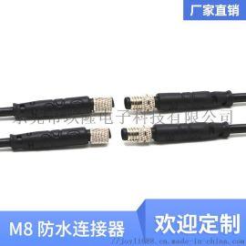 M8防水公母对接4芯新能源汽Led灯具防水连接器连接线