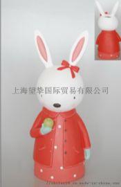 兔子狐狸存钱罐办公室家居树脂摆件