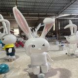 玻璃钢动物雕塑 公园仿真雕塑 玻璃钢兔子雕塑