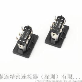 USB 3.1 TYPE-C 16Pin立式SMT母座 立式贴板SMT 有柱 高度H=5.6MM