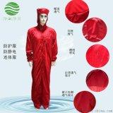 防静电连体服带帽 红色网格三连体无尘服