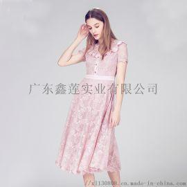 粉丝气质名媛蕾丝碎花连衣裙 轻奢连衣裙