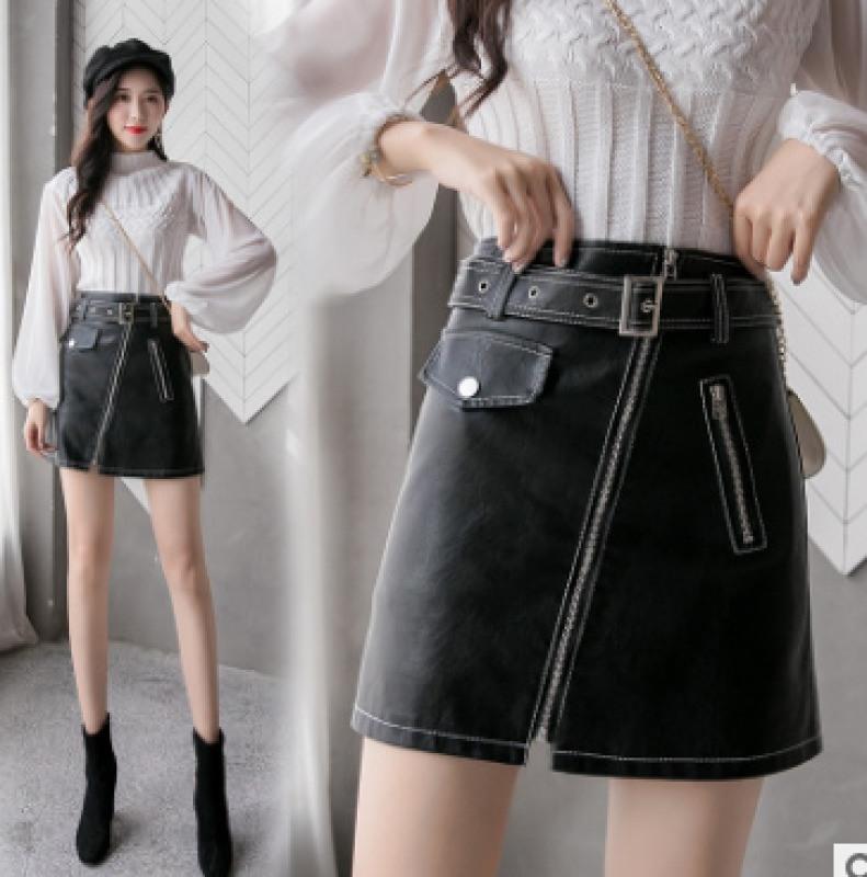 2020新款洗水pu皮a字裙韩版高腰显瘦拉链半身裙短裙女潮