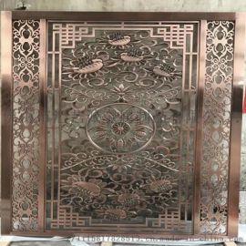 阳江海边别墅时尚装饰 室内外装饰红古铜不锈钢屏风