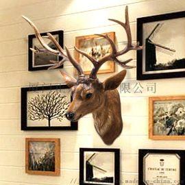欧式复古树脂仿真动物招财鹿头墙面壁挂家居工艺品挂件