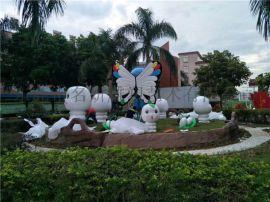 幼儿园景观设计规划玻璃钢毛毛虫卡通雕塑增添趣味