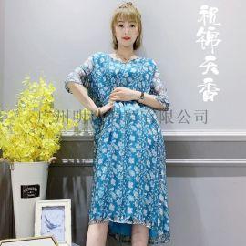 深圳品牌女装折扣祝锦天香新款**连衣裙一手货源