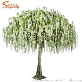 创意白色新款仿真紫藤花树婚庆装饰 人造假花藤树摆件 厂家直销