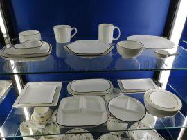 黑线画边陶瓷餐具 早餐盘 格盘