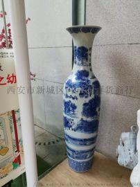 西安开业大花瓶,金牡丹红瓷花瓶摆件